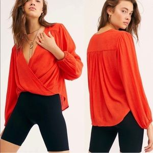 Free People Tops - FREE PEOPLE Check On It Wrap Top XL Flame New